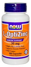 NOW, L-Optizinc ® 30 mg + Copper 100 капс.